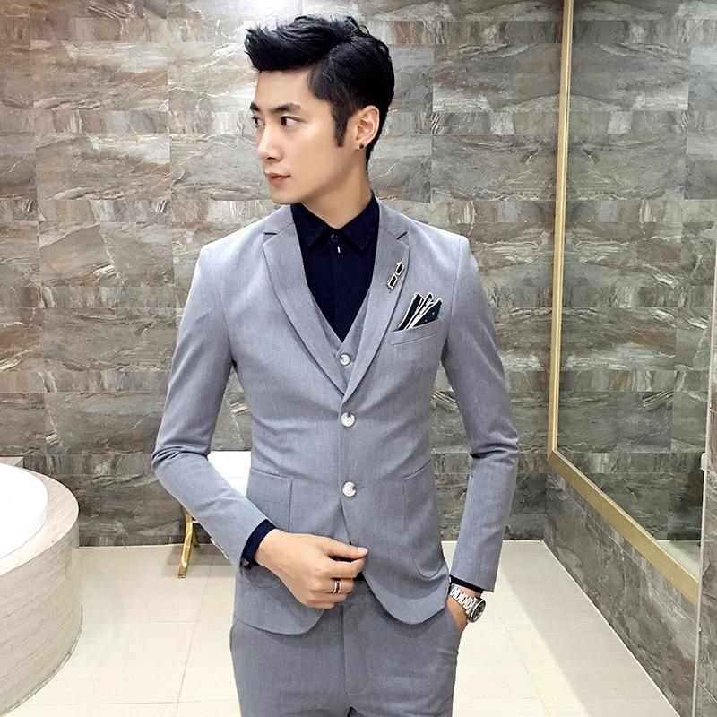 Men Wedding Hair: 2017 Fashion Slim Fit Male Korean Hair Stylist 3 Piece Set