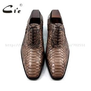 Image 3 - Cie Chân Vuông Bespoke Tuỳ Handmade Da Trăn Bê Đế Ngoài Bằng Da Người Đàn Ông Thở của giày NoSN1 Goodyear welted Màu Nâu