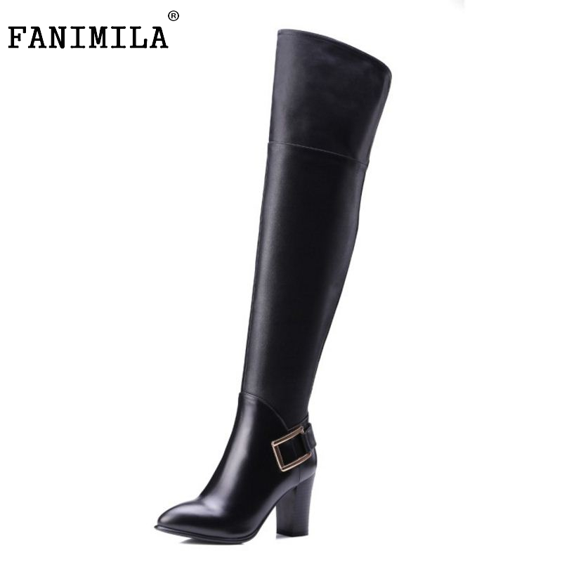 Women Real Leather Over The Knee Boots Winter Snow Boots Sexy High Heel Fashion Zipper Women Riding Boots Women Shoes Size 34-39 woman real leather boots 2015 new winter boots black apricot zipper fashion martin boots 34 39 comfortable women knee high boots