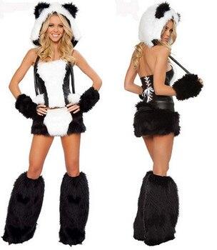 Libre de PP nuevo disfraz de Duluxe negro blanco Lobo Oso Polar gato Frisky Halloween disfraz con cola grande para mujer