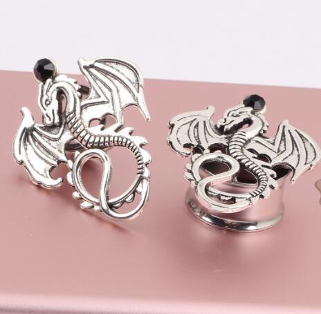 Stainless Steel Dragon Flare Ear Plug Tunnel Stretcher Flesh Gauge Expander Men Women Earrings Jewelry