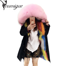 YOUMIGUE Real Fur Winter Jacket Women Coat Warm Detachable Lining Raccoon Fur Collar Hooded Army Green Brand Parka Outwear