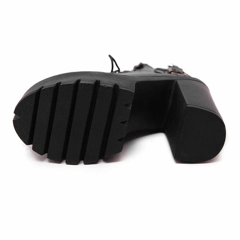 Prova perfetto Sıcak Satış Rus Ayakkabı Siyah Platformu Çizmeler Kadın Fermuarlı Bahar Yüksek Topuklu Ayakkabılar ayak bileği bağcığı Botları Deri Boyutu