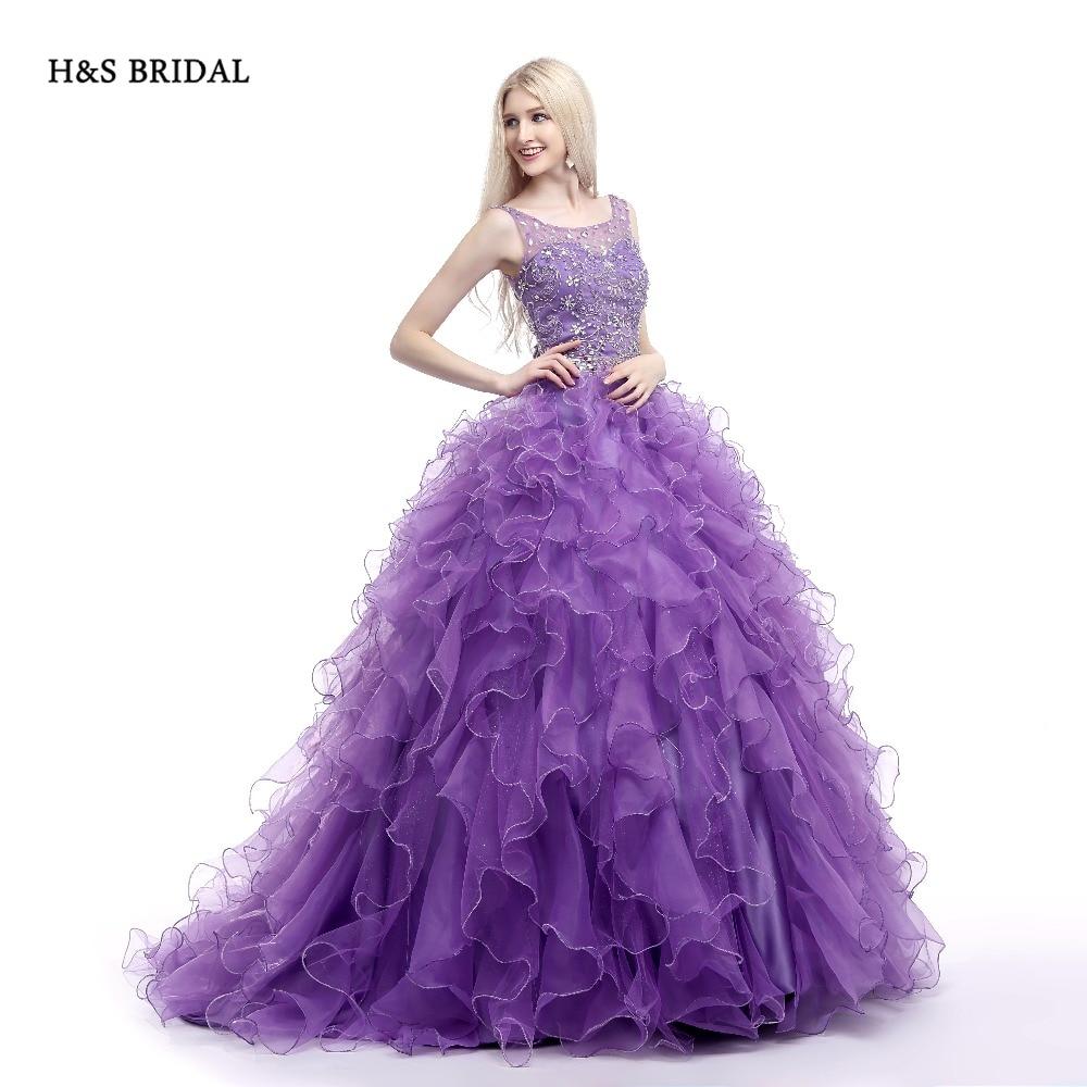 H & s braut lila organza luxus pailletten quinceanera kleider sweet ...