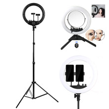 "16"" Ring Light with Mirror Photography Phone Video Ring LED 2 Phone Holder With Stand For Camera Phone Selfie Photo Make Up(China)"