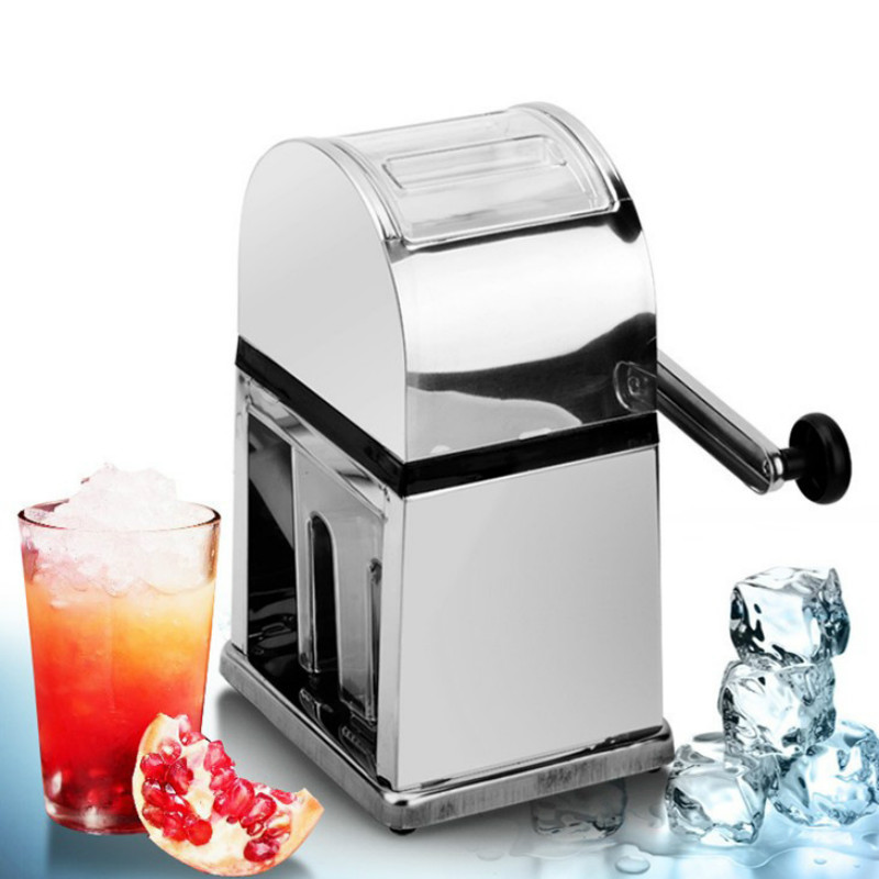 Broyeur à glace à manivelle en acier inoxydable broyeur à glace rasoir boisson à neige fabricant de Slushy mélangeur Cocktail Maker en acier inoxydable 15*12*26 cm
