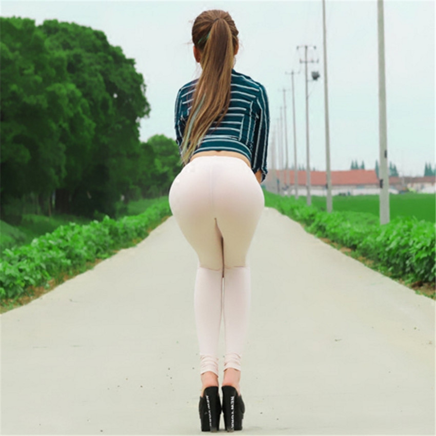 women 2018 sexy transparent gloss Ice silk Ass Stovepipe Sunscreen Primer fitness leggins gothic   legging