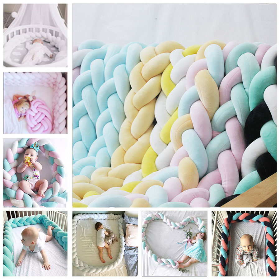 NEW!1M/2M/3M Newborn Baby Bed Bumper Long Knotted Baby Bed Decor Pure Weaving Plush Knot Crib Bumper Protector Infant Room Decor