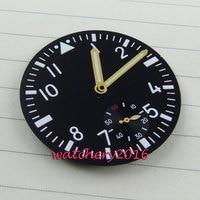 38.9mm   black dial gold watch hands fit 6498 movement Men's Watch dial + hands