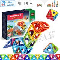 40pcs Set 3D DIY Magnetic Blocks With Car Wheels Building Blocks TOY 3D Brain Training ABS