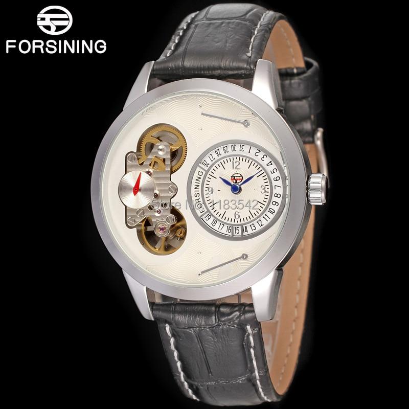 где купить  Famous brand FORSINING FSG8015Q3S2  new Quartz silver men wristwatch tourbillon black leather  strap shipping  free  по лучшей цене