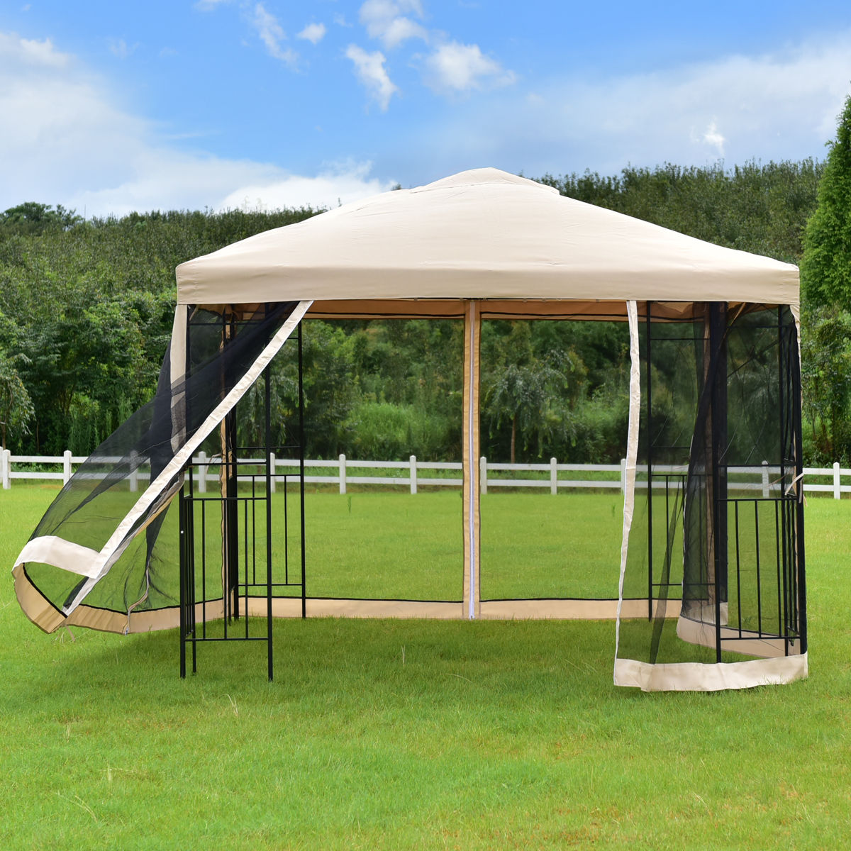Goplus 10'x10' Gazebo Canopy Shelter Patio Wedding Party Tent Outdoor Awning with Netting Canopy Tent OP3182 yp80100 80x100cm 80x200cm 80x300cm clear window awning diy overhead door canopy decorator patio cover