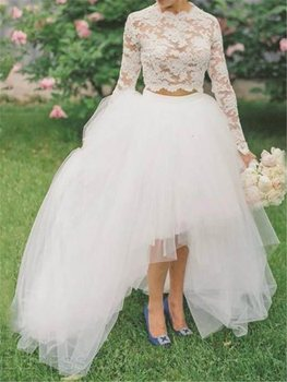 Ensotek High Low Lace Two Pieces Beach Wedding Dress 2019 New Long Lace Bridal Dress Wedding Gowns robe de mariage Custom Made