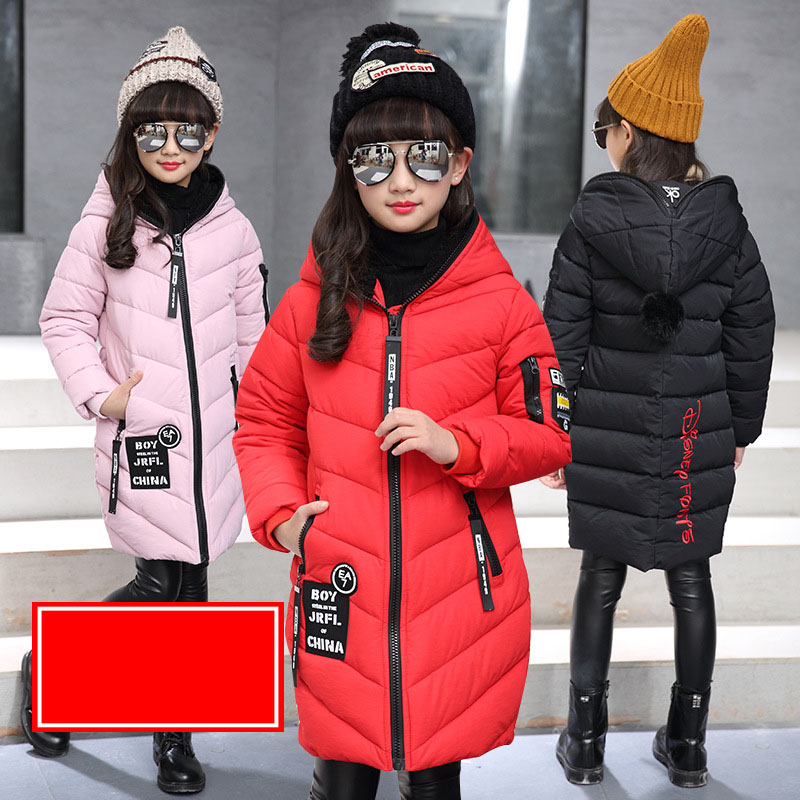 Children Outerwear Winter Jackets Coats For Girls Fashion Down Jacket For Girl Long Zipper Thickened Coat 4 6 8 10 12 Years fashion girls winter coat long down jacket for girl long parkas 6 7 8 9 10 12 13 14 children zipper outerwear winter jackets
