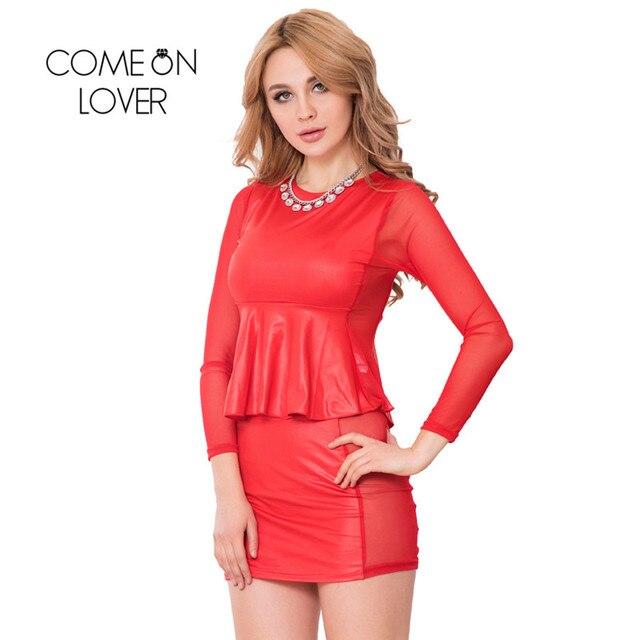 2a1bc32e89e RI80117 New Sexy Fashion Two Piece Casual Club Bodycon Top Mesh Inset Peplum  Top Skirt Set Long Sleeves sexy vestido de festa
