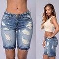 Fashion Blue S 2XL 2016 New Summer Style Mid Waist Elastic Plus Size women Washed Bleached Boyfriend Loose Femme Jeans