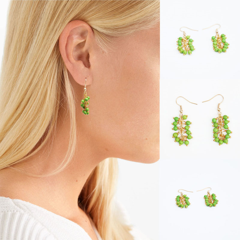все цены на 2018 Hot Sale Special Offer Trendy Geometric Stone Copper Women Pendientes Pine Beads Drop Earrings Golden Chains Fashion