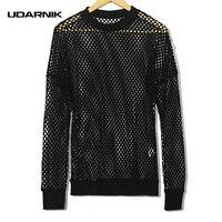 Men Fishnet Mesh Top Shirt T Shirt Dance Gothic Punk Long Sleeve Fashion Hip Hop Black