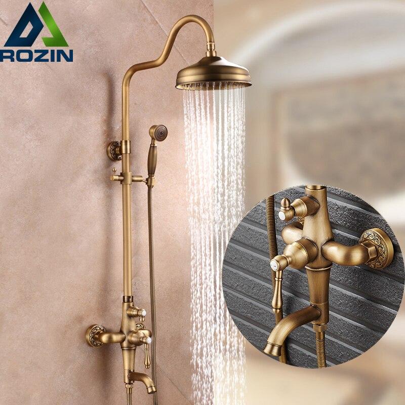 Good Quality Antique Brass Rainfall Shower Set Faucet + Tub Filler Tap + Handheld Shower Wall Mounted 8 Rain Showerhead