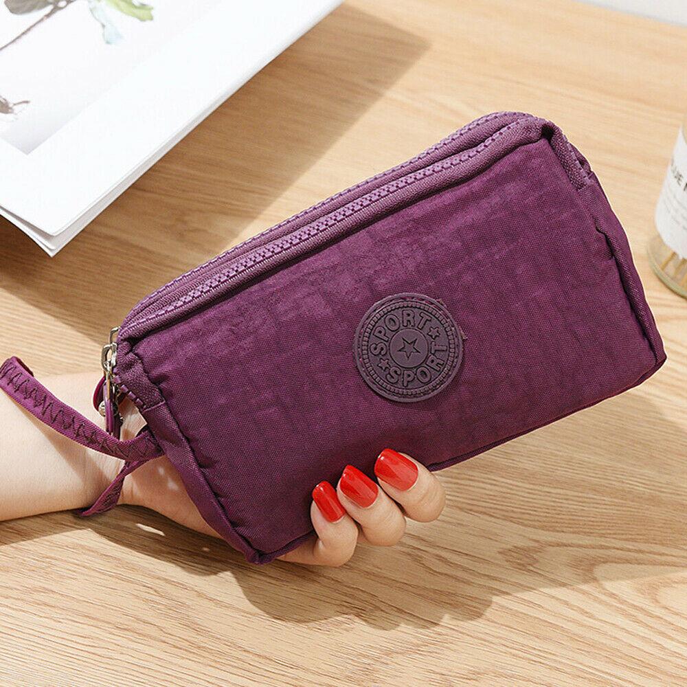 Модные Женские однотонные 3 Слои холст телефона короткий бумажник три-Слои для монет на молнии-карта для ключей - Цвет: Лаванда
