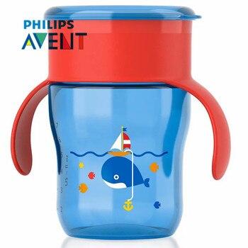 AVENT 260 ml/9 oz BPA Libero Del Fumetto Del Bambino Sippy Tazze di Bottiglia di Acqua con Maniglie Per Bambini Spoutless Tazza per 9 m + Bambino di Scuola di Viaggi