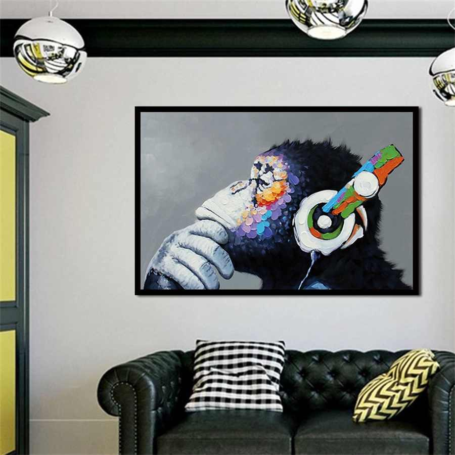 Abstract Canvas Prints Wall Art Animal Oil Painting Headphone Music Monkey Wall Pictures Print for Living Room Posters Decor Art