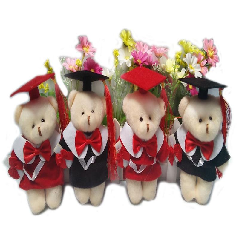 1Pcs lovely mini Dr Bear Plush Toys Mobile phone bag key chain pendant Bouquet Decor Best for your classmates benediction gift