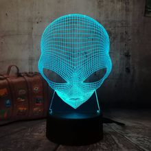 3D Emoji Alien Lamp Table Desk Night Light 7 Color Change USB LED Home Decoration Wireless Flashlight Atmosphere Bulb Creative(China)