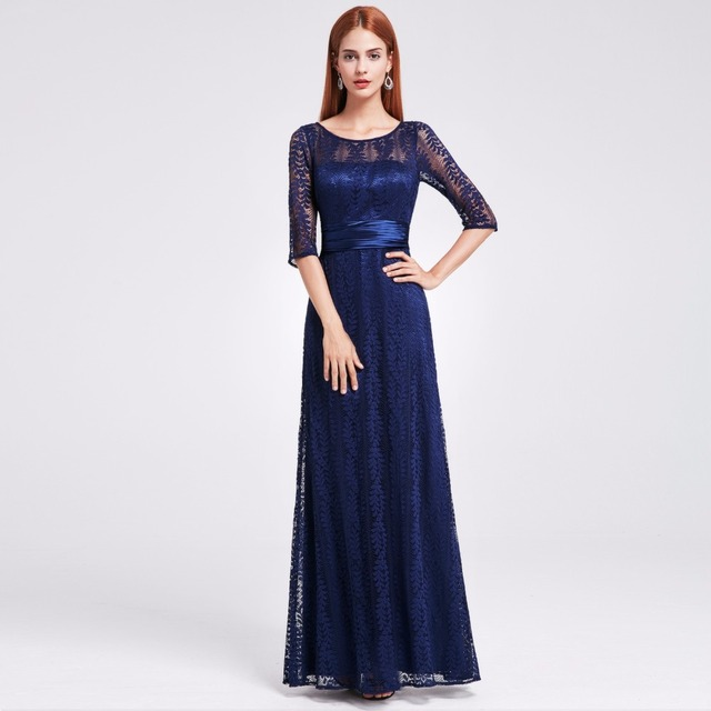 Women's Elegant Long Mother of the Bride Dresses Ever Pretty EP08878 Grey Lace Floor-Length Mother of the Bride Dresses