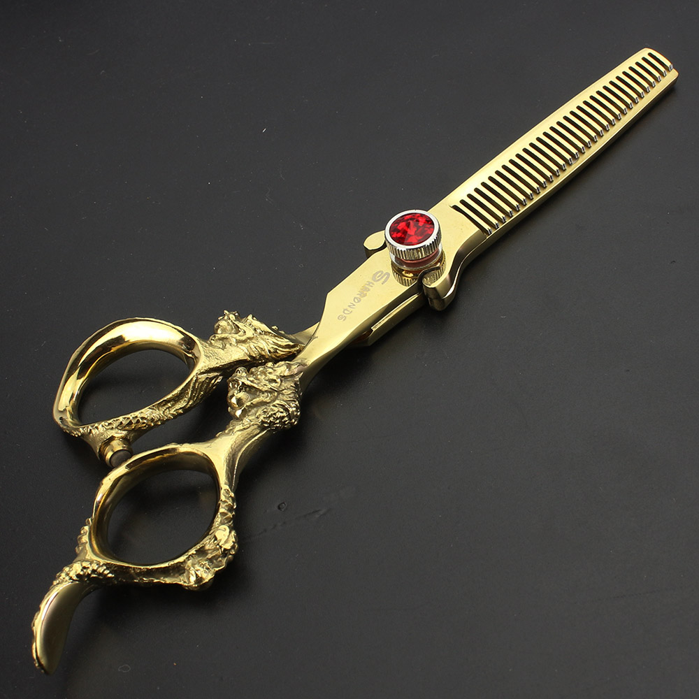 Professional 6 inch gold hair scissors set hairdressing shop special hair styling tool to play thin cut two piece in Hair Scissors from Beauty Health