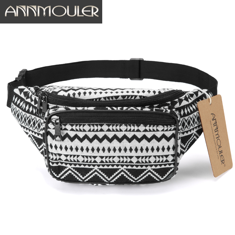 Annmouler Fashion Women Waist Packs 6 Colors Fabric Fanny Pack Double Zipper Chest Bag Bohemian Style Tribal Phone Belt Bag