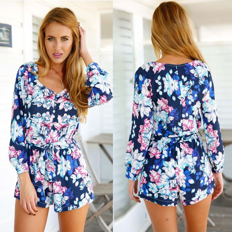 b9e632ce5558 Summer Beach Wear Style Vintage Floral Print Sexy Rompers for Women  Palysuit Long Sleeve V Neck Short Jumpsuits with Belt WLT32 on  Aliexpress.com