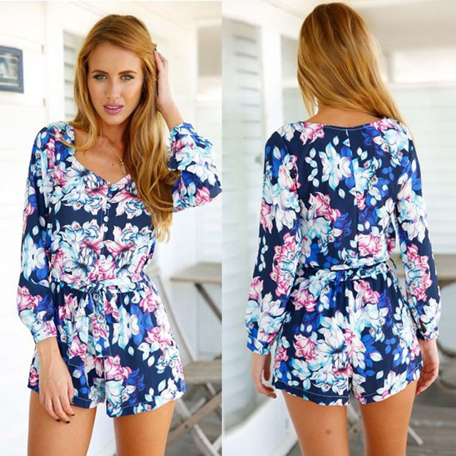 7e5a17711880 Summer Beach Wear Style Vintage Floral Print Sexy Rompers for Women  Palysuit Long Sleeve V-Neck Short Jumpsuits with Belt WLT32