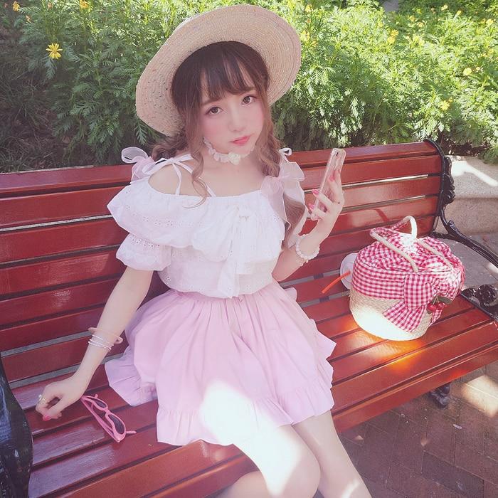 Arc Coton Princesse Broderie Bretelles Spectacle Blanc Bobon21 D'été Blouses Douce Clavicule Beauté Blouse T1483 Lolita q8H0p