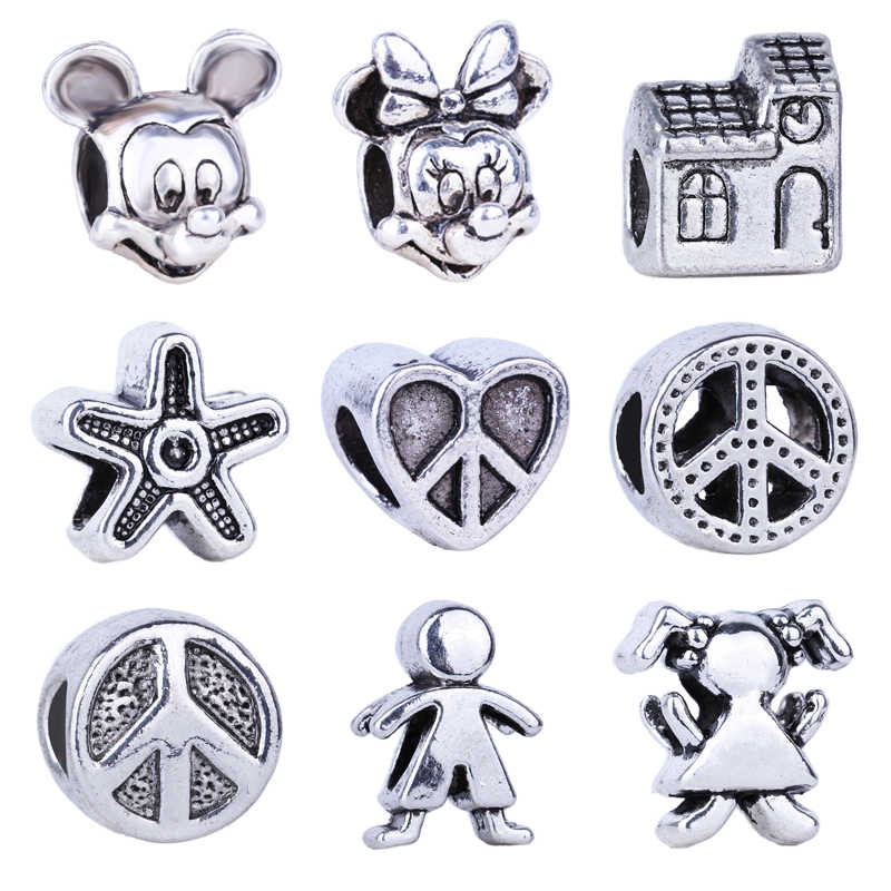 2019 New Boy & Girl Mickey & Minnie Peace Symbol Bead Fit Original Pandora Charms Silver 925 Bracelet Jewelry For Women Man