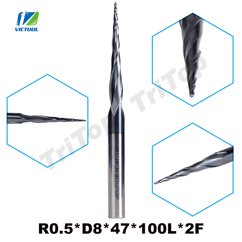 1pc R0.5*D8*47*100L*2F tungsten carbide router bits Ball Nose cone type Tapered End Mill 8mm shank cnc milling cutter tools 1 2 5 8 round nose bit for wood slotting milling cutters woodworking router bits