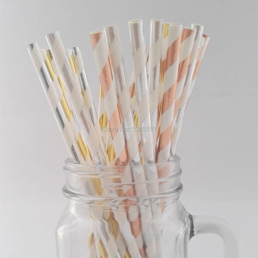 Stylish Rose Gold/Gold/Silver Paper Straws,Sparkle and Shine Wedding ...
