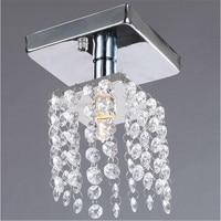 De luxe LED lustre en cristal éclairage Couloir lampe éclairage Chrome lustre appareils livraison gratuite MINI plafond D80mm H125mm
