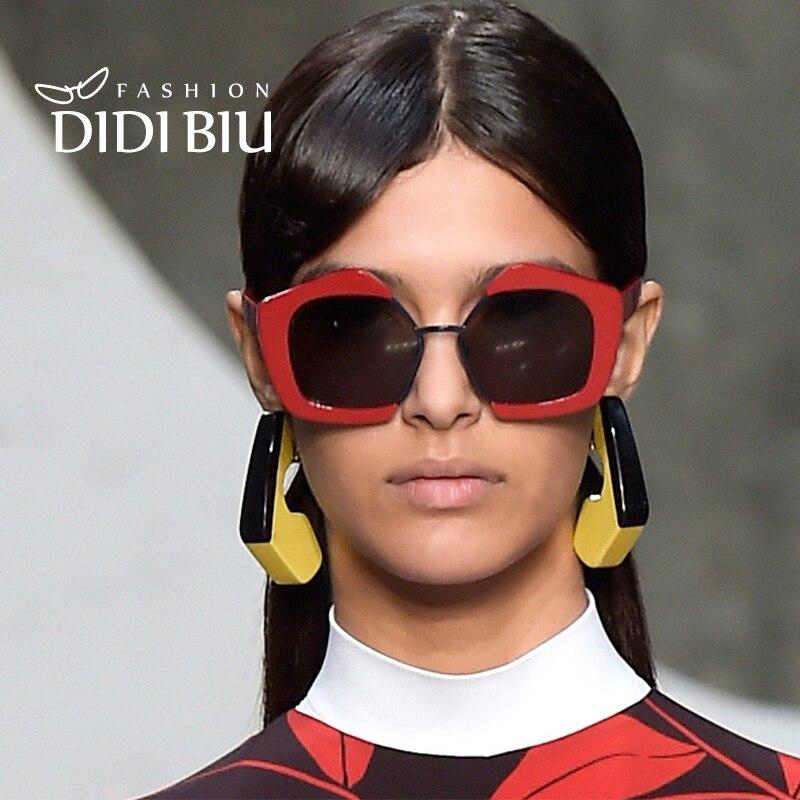 Didi Pentágono medio borde Gafas de sol mujeres hombres claro marca sombras gafas geométrico semi-rimless gafas polígono UV400 punk w633