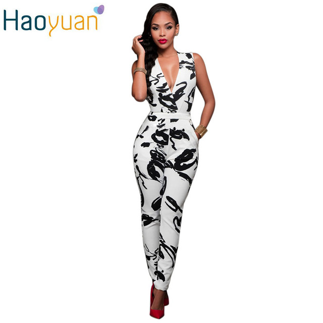 2017 Summer Rompers Women Jumpsuit Combinaison Femme Printed Bodysuit Sexy Slim Bandage White Sleeveless Bodycon Casual Overalls