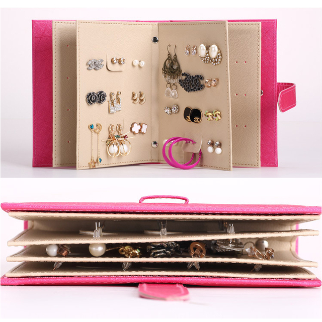 Stud Earring Collection Book Jewelry Box Design PU leather
