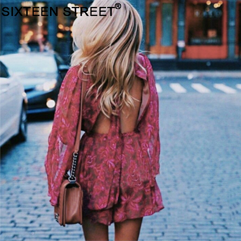 Sexy Stand Playsuit Bodycon Female Neck Floral Shorts Vestidos Spaghetti Backless Woman New Red Fashion Jumpsuit Boho cZYvqZn8