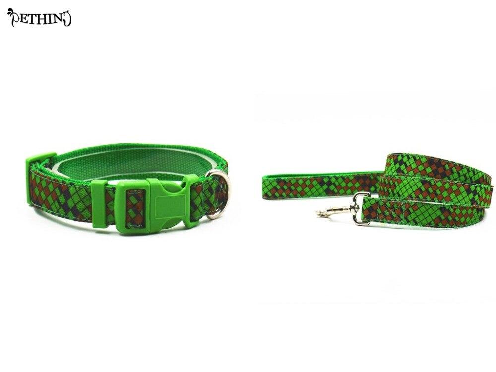 ᑎ‰Collar de perro ajustable de nylon plomo diamante patrón de color ...
