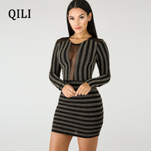 QILI Bright Silk Striped Sexy Wrap Dress See Through Mesh O Neck Long Sleeve Short Dresses Party Club Dress Plus Size plus rolled tap sleeve surplice wrap striped top