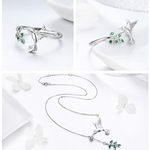 Image 5 - BISAER Jewelry Set 925 Sterling Silver Bird Hummingbirds Greeting Collar Anel Jewelry Sets For Women Fashion Earrings Jewelry