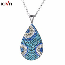 KIVN Fashion Jewelry Turkish Blue eye Pave CZ Cubic Zirconia Womens Girls Bridal Wedding Pendant Necklaces Birthday Gifts