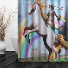 150x180 см Водонепроницаемая занавеска для душа, креативная забавная одноугольная ткань из полиэстера с изображением животных и кошек, с 12 крючками для ванной комнаты