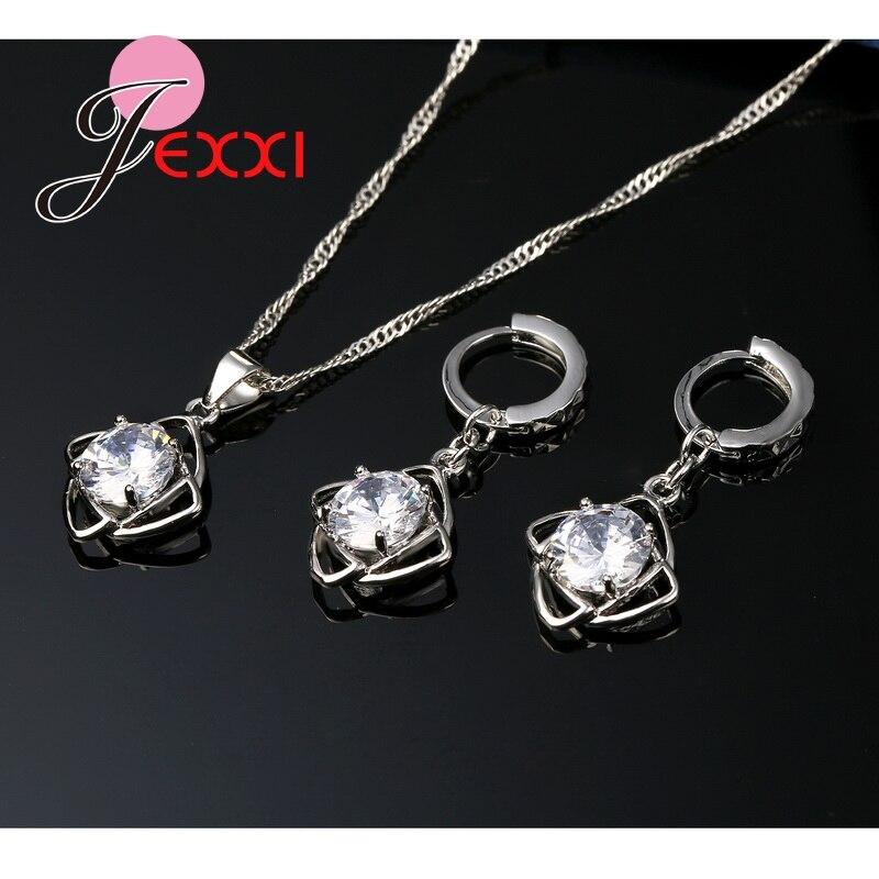 Heißer 925 Sterling Silber Cubic ia Blume Anhänger Erklaerung Halskette Tropfen Ohrringe für Frauen Brincos Kragen Schmuck Set