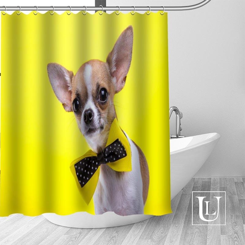 Aliexpress Buy Custom Chihuahua Dog Curtain Fabric Modern Shower Bathroom Beautiful Curtains Bath Decor Polyester Cloth Waterproof From