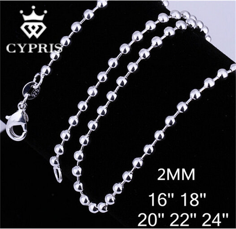 STERLING SILVER 16 18 20 22 24 30 BEAD BALL DOG TAG CHAIN PENDANT NECKLACE BOXED